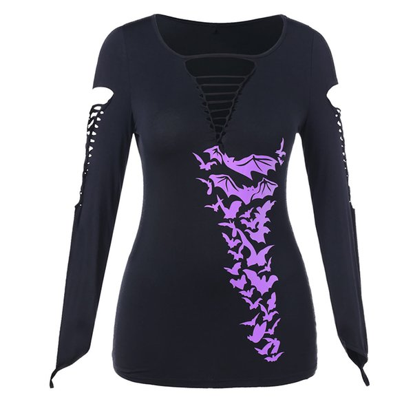 Women Autumn Knitted T Shirta Gothic Bat Printed Shirts Top Plus Size Cut Out Long Sleeves Mujer Roupas V Neck Tops SJ903Y