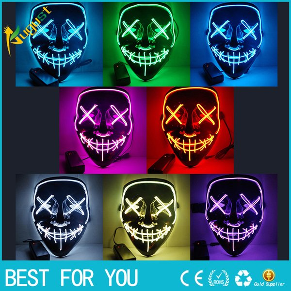 New Hot Halloween Mask LED Light Up Party Masks The Purge Election Year Great Funny Masks Festival Cosplay Costume Supplies Glow In Dark