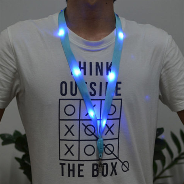 Hot Style LED Light Up Neck Strap Band Lanyard Key Chain ID Badge Hanging Lace Rope for Business ID Keys Students Office Worker