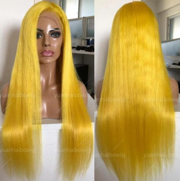 Yellow Full Lace Wig High Quality Virgin Malaysian Human Hair Color Lace Wigs Celebrity Wig Silky Straight Front Lace Wigs Free Shipping