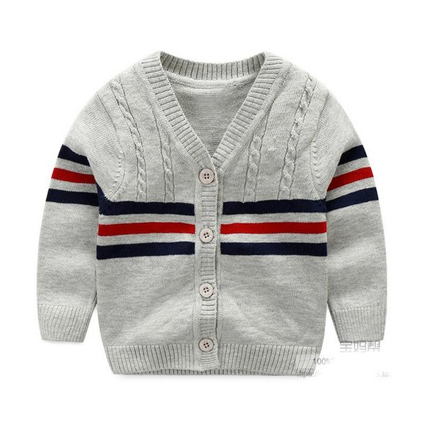 100% Cotton Baby Sweater Stripe V-neck Button Cardigan British Leisure Toddler Baby Boys Knitted Sweaters 2017 Spring Autumn