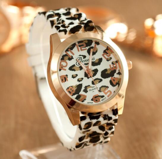 Reloj Mujer Watches Women Fashion Unisex Geneva Leopard Silicone Jelly Gel Quartz Analog Wrist Watch montre femme Dropship