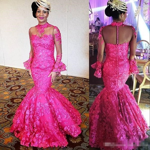 ASO EBI Fuchsia Mermaid Evening Dresses 2019 High Neck Sheer Long Sleeves Appliques Formal Prom Gowns Plus Size Mother of Bride Dress