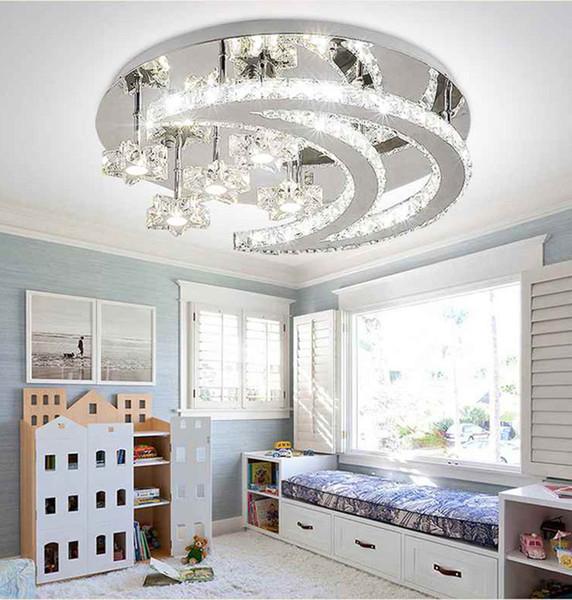 Yıldız Ay Yatak Odası Kristal LED Tavan Işık Krom Modern Basit Oda Yaratıcı Uzaktan Çocuk Odası Aydınlatma