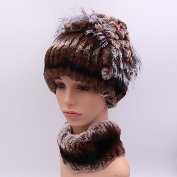 100% Real Rex Rabbit Fur Women Hat Scarf Sets Winter Thick Warm Vintage Fur Female Caps Scarves Casual Ladies Hats New Arrival