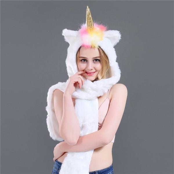 Cálido bufanda de piel sintética unicornio bufanda de retazos Algodón de invierno Campana con capucha completa con capucha Sombrero de piel sintética 3 en 1 Función Guantes de mitones