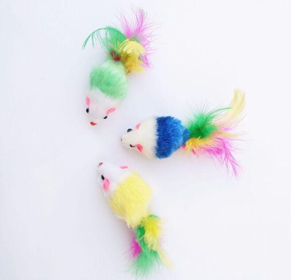 Renkli Tüy Grit Küçük Fare Kedi Oyuncak Kedi Tüy Komik Oynarken Pet köpek Kedi Küçük Hayvanlar Için tüy Oyuncaklar Yavru