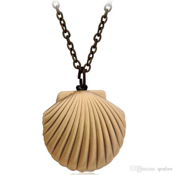 Wholesale- Vintage Style Antique Brass Mermaids Sea Shell Locket Necklace Sea Beach Jewelry Beach Wedding Collection Pendant Put Photos Box