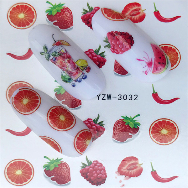 1 Sheet Water Transfer Nail Sticker Decals Fruit Cream Cake Cat Beauty Decoration Designs DIY Color Tattoo Tip