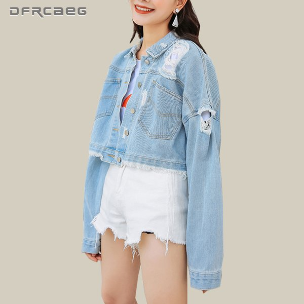 Streetwear Womens Basic Denim Coat With Hole Fall 2018 Fashion BF Vintage Jeans Jacket Outwear Casual Long Sleeve Top Clothing