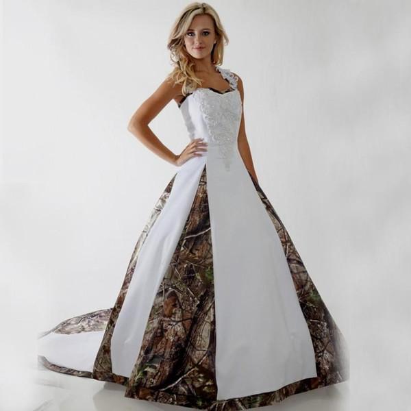 Vestidos De Noiva Dia 2018 Princesa Camo Vestidos De Casamento Personalizado Gótico Plus Size Vestido De Baile Branco Espartilho De Cetim Varrer Trem