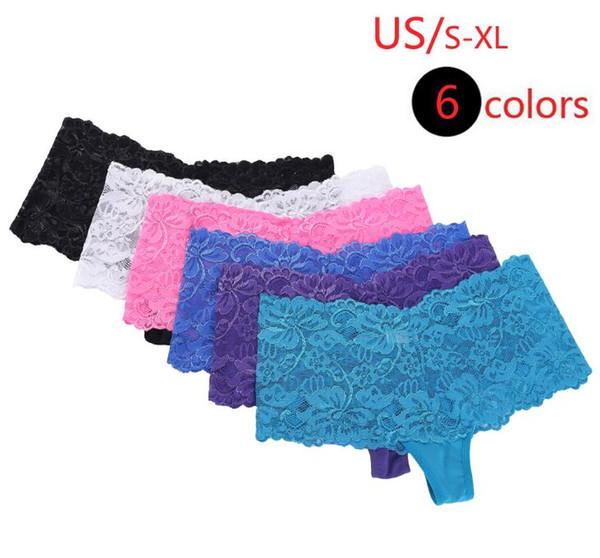 Neue Ankunft heiße Dame Intimates Frauen Hipster sexy Lace Trim Unterwäsche Schlüpfer Sheer 6 Pack-Vereinigten Staaten Code S-XL