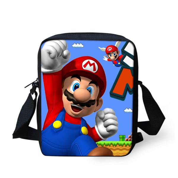 FORUDESIGNS Mini Children School Bags Cartoon Super Mario Printing Cross body Shoulder Bags for Kids Small Game Boy Schoolbag