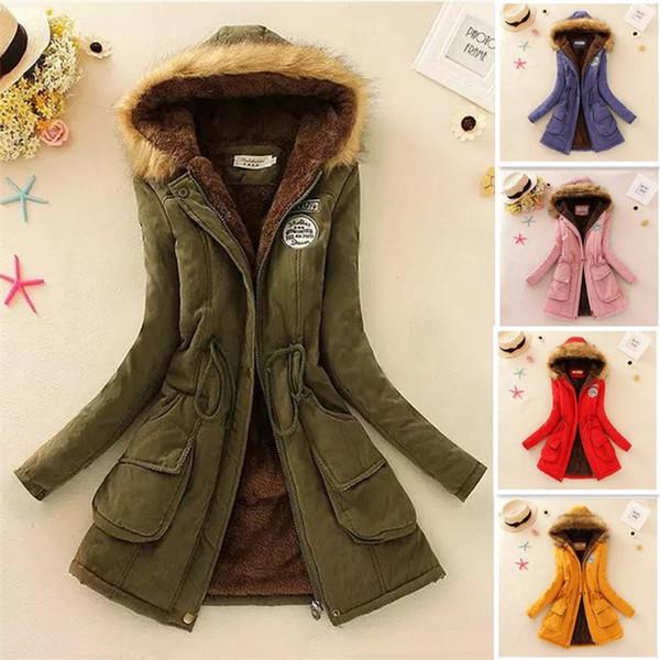 12color Зимняя куртка женщин Новая зима женщин Parka вскользь Outwear с капюшоном пальто мех женщин пальто манто Femme Женщина Одежда