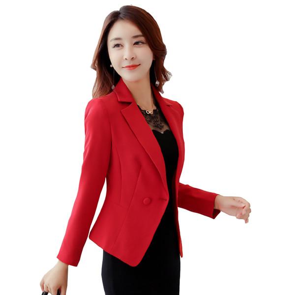 Blazers et manteaux pour dames Plus Size Office Wear Travail Manches longues Noir Rouge Petit Costume Bodycon Blazer Vestes Femme Manteau Femme