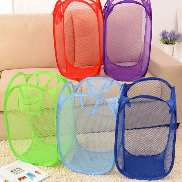 60pcs/lot Mesh Fabric Foldable Pop Up Dirty Clothes Washing Laundry Basket Bag Bin Hamper Storage for Home Housekeeping ZA4059