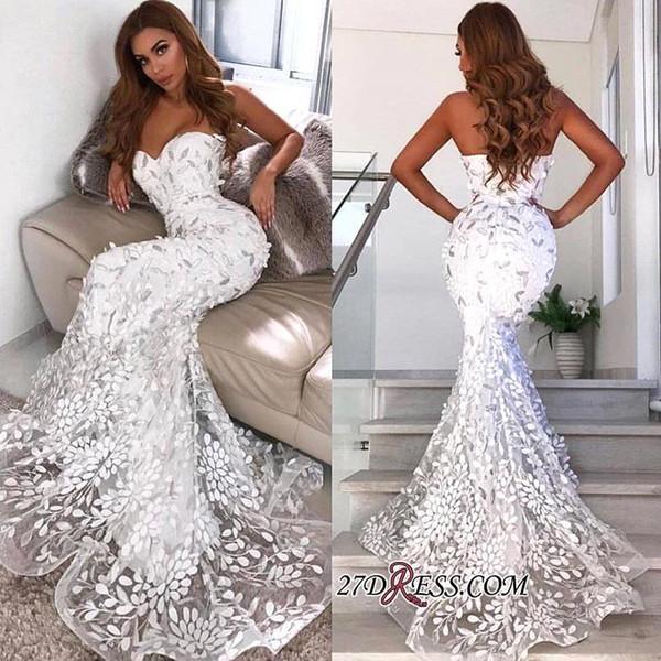 Compre 2019 Nueva Moda Sirena Vestidos De Novia Apliques De Encaje Sin Espalda Corte Tren Vestido De Novia Vestidos De Novia Vestidos De Novia A