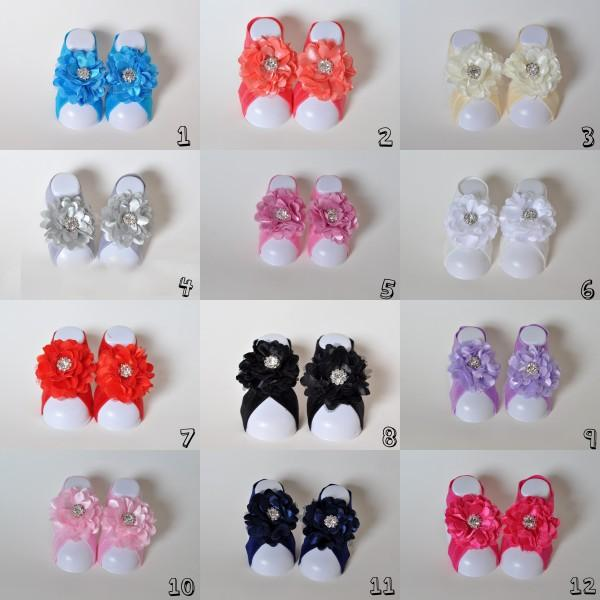 12 Colors New Style Flower Rhinestones Baby Barefoot Sandals for Summer Pre-Walker Infant Toddler Baby Shoes Newborn Baby Shower Gift