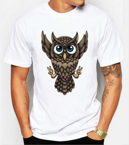 Fashion new men 's casual cute cartoon Owl print T medusa hawaiian shirt high quality white short sleeved tee camisa jeans camiseta masculin