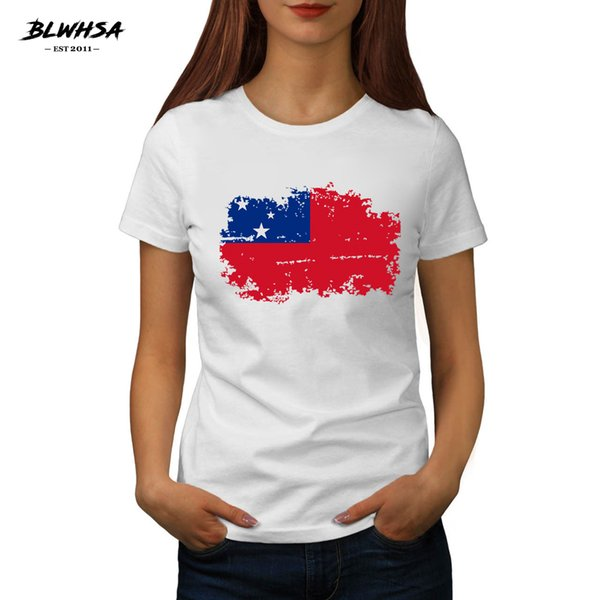 Women's Tee Blwhsa New Samoa Flag Printed T Shirt Women Casual Short Sleeve Hip Hop T-shirts Funny Samoa National Flag Girl Top Tees