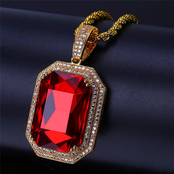 Cubic Zirconia Hiphop Ruby Pendant Necklace For Men 18K Gold Hip Hop Jewelry Ice Out Big Gem Necklaces