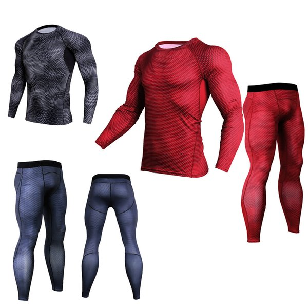 New Men T shirts Trousers Set 2 Piece Men's Sportswear Compression Suit Joggers Fitness Base Layer Shirt Leggings Rashguard Clothes