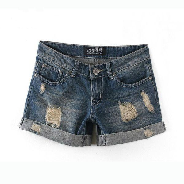 Wholesale-2018 Summer Women Button Hole Denim Shorts Pants Plus Size Women's High Waisted Cotton Denim Shorts Jeans Shorts Women Jeans