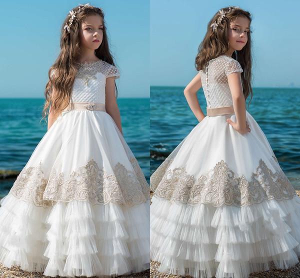 Compre Vestidos De Primera Comunion 2019 Vestidos De Primera Comunión Para Niñas Niñas Vestido Largo De Niña De Flores Con Volantes Falda Vestidos De