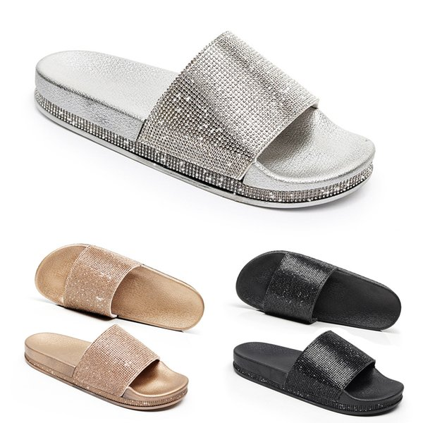 31d79dd02 Rhinestone Women Slippers Flip Flops Summer Women Crystal Diamond Bling  Beach Slides Sandals Casual Shoes Slip