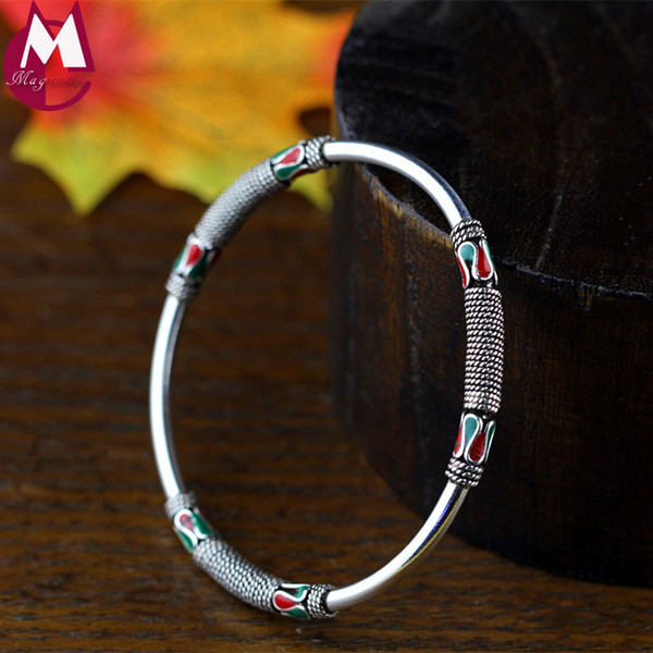 100% Real 925 Sterling Silver Bangle For Women Thailand Style Fashion Twist Enamel Vintage Rope Bracelet Ethnic Jewelry SB68
