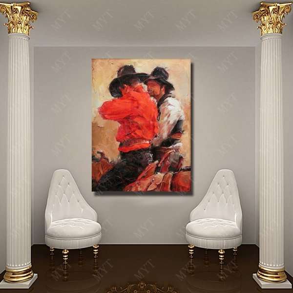 Handmade oil painting picture modern male figure oil painting west cowboy easy oil painting pictures canvas art