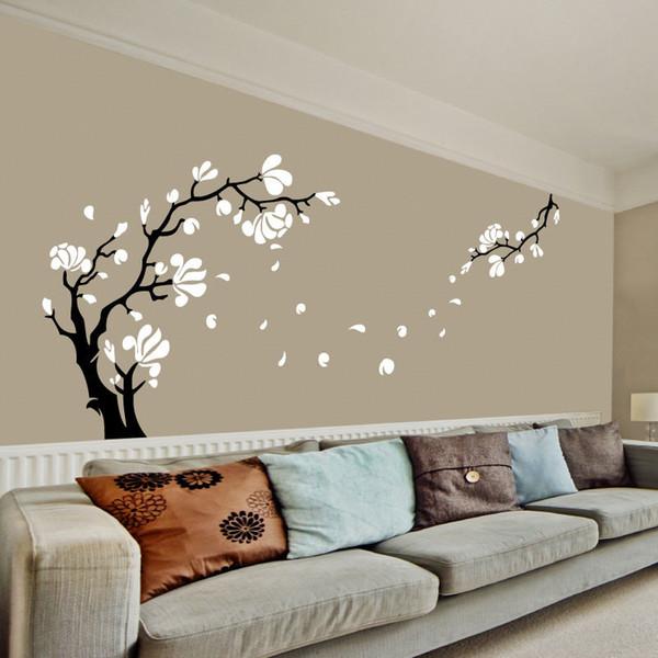 Grande-tamanho Magnólia Flor Árvore Arte Adesivos de Parede Removível de Alta Qualidade Decalques de Parede de Vinil para Sala de estar Decoração de Casa