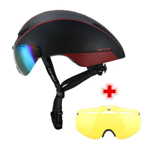 CAIRBULL 2 Lens AERO-R1 Cycling Helmet Racing Bike Safety Helmet With Magnetic Goggles Mountain Road Pneumatic Bicycle