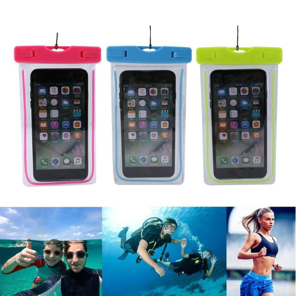 Universal Swimming Bags Luminous Waterproof Touch Screen Dry Bag Pouch Case for 6inch Smart Phone Underwater Pouch Phone Case