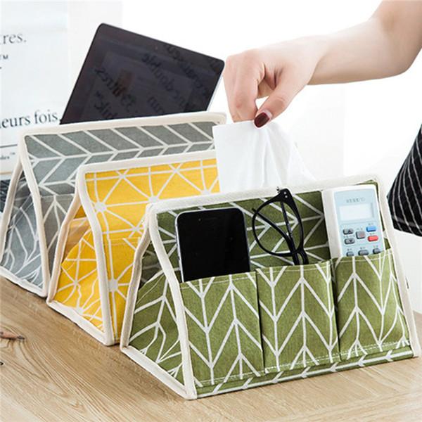 6 Pockets Napkin Paper Storage Bag Washable Tissue Box Case Desktop Small Items Organizer Cotton Printed Pouch Home Table Decor