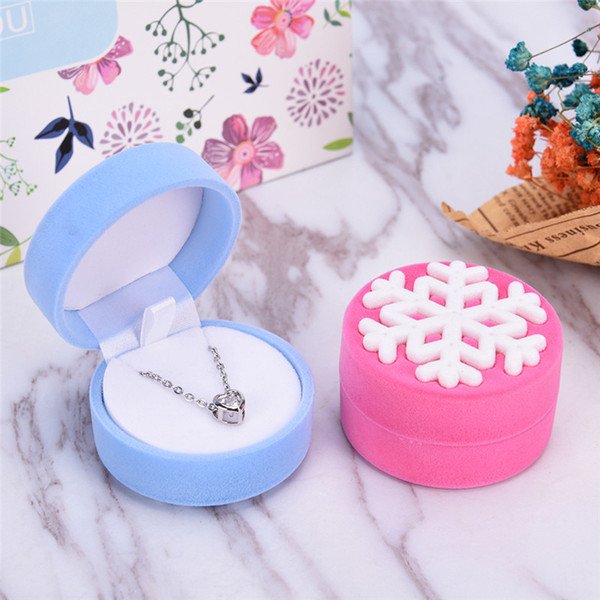best selling Women Ring Necklace Earring Stud Jewelry Box Velvet Snowflakes Display Storage Case Gift Boxes Christmas Wedding