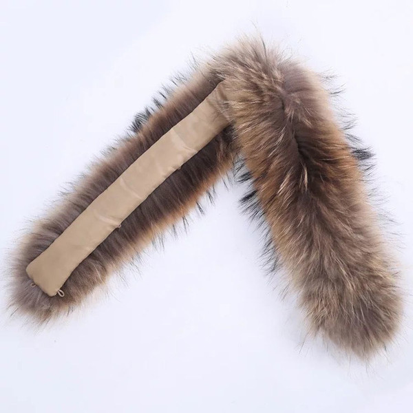 Winter Warm Fur Collar Scarves Real Raccoon Luxury 100% Natural Fur Scarf Fashion Shawl Wrap Neck Cap Scarves Cap Accessories S18101904