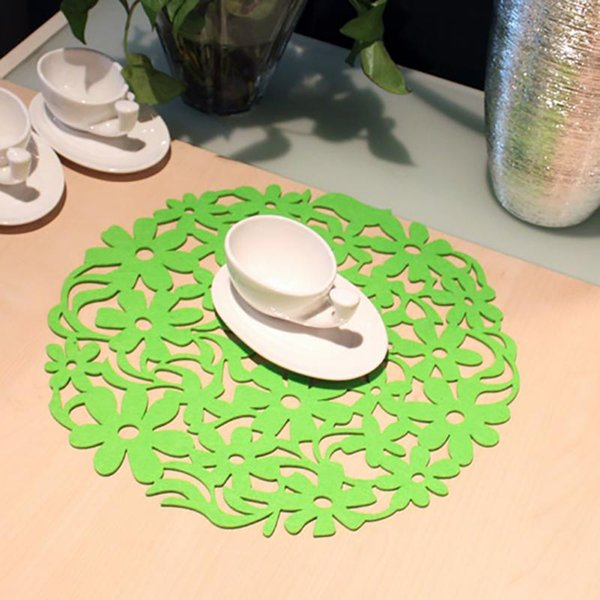 30x30cm Placemat Tableware Pads Dinnerware Mat Round Laser Cut Flower Design Felt Placemats Kitchen Dinner Table Mats