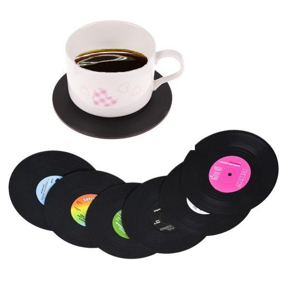 Retro Sottobicchieri di vinile Creativo Sottobicchieri record Vintage Nero antiscivolo Tazza Mat 6 Pz Set utilizzato per Home Bar Restaurant