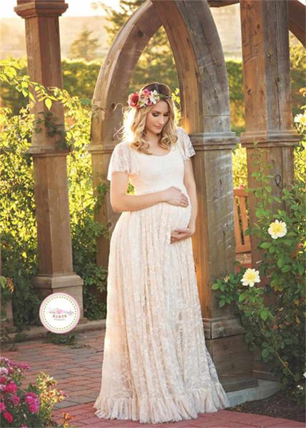 top popular Summer Lace Maternity Pregnancy Dresses Women Clothes for Pregnant Maternity photography Long dress 2020