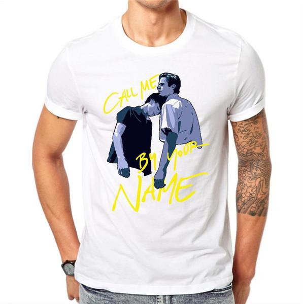 O-cuello Slim Tops moda para hombre camiseta camisetas llámame por tu nombre Hombres camiseta 2018 de manga corta patrón de impresión camiseta