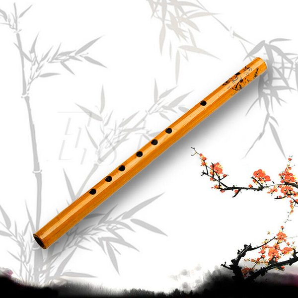 1pc 30cm Chinese Traditional 6 Hole Bamboo Flute Clarinet Student Musical Instrument Wood Color