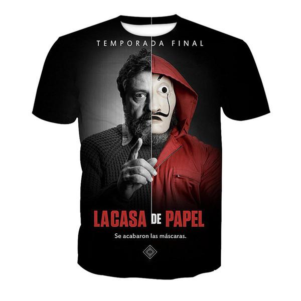 Newest La Casa De Papel Money Heist The House of Paper T-Shirt 3D Printed Women/Men Short Sleeve Unisex T-shirt Casual Tops 3D-Shirt K413