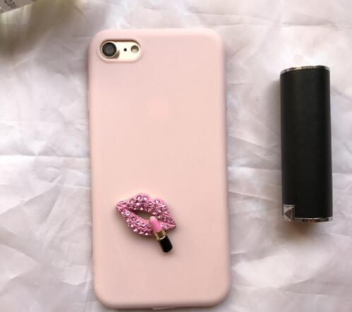 YunRT 3D Sexy Rhinestone Lips Cute Vintage soft case for iphone 5 6 S 7 8 plus X XR MAX cover