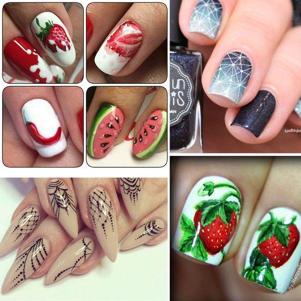 Top Selling 12 Folhas / set Frutas Coloridas Nail Art Transferência De Adesivo Flor Geométrica Manicure Wraps Decor