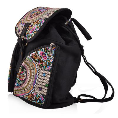 Fashion National Embroidery Shopping Canvas Backpacks!Nice Bohemian Floral Embroidered Lady Cover Backruck Top Vintage Backrack