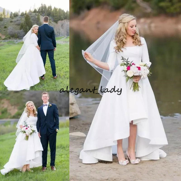 Vintage High Low Wedding Dresses with Long Sleeve 2019 Simple Style Matte Stain Outdoor Plus Size Country Western Bridal Gown