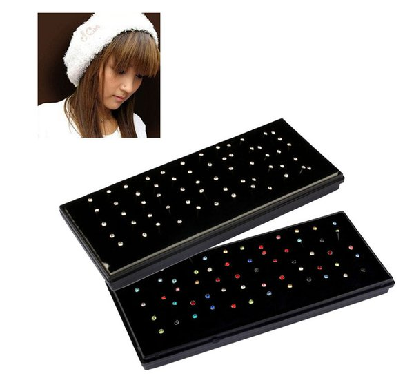 60PCS 1.8mm Crystal Rhinestone Nose Ring Studs Stainless Steel Colorful/Silver Body Piercing Sexy Jewelry for Women Gift Jewelry