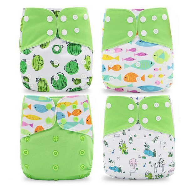 4pcs/set Washable Cloth Diaper Cover Adjustable Nappy Waterproof PUL Reusable Cloth Diapers Available 0-2years 3-15kg baby