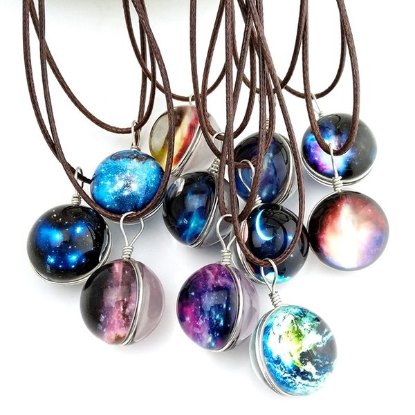 Hot Starry Outer space Universe Gemstone necklaces Glow In The Dark Glass ball pendant necklace For women&men s Fashion Jewelry